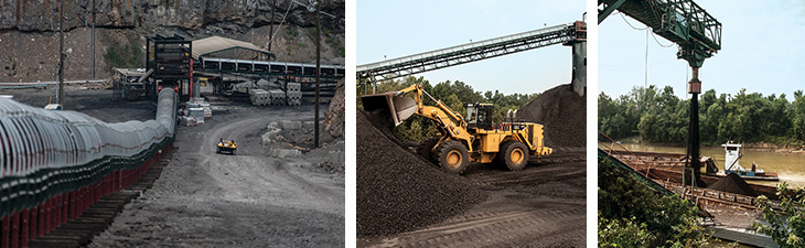A belt system, driven by a Cat® Belt Terminal Group, is constantly carrying coal up to the surface to be shipped to Armstrong's processing plant. Armstrong's coal is prepared locally and shipped by train and by barge all over the Midwest—and the rest of the world.